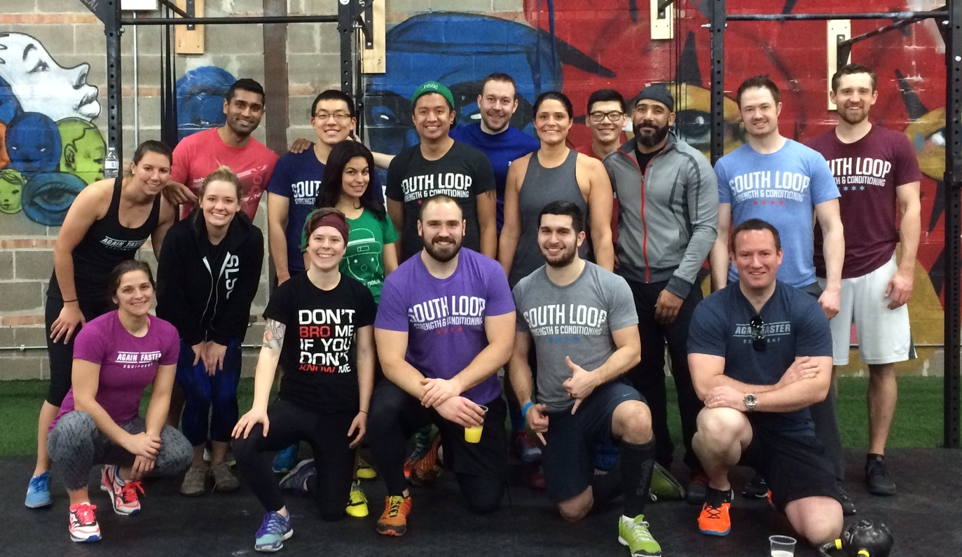 Group photo at South Loop CrossFit in downtown Chicago